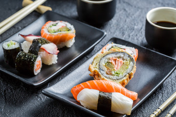 Closeup of sushi for two people