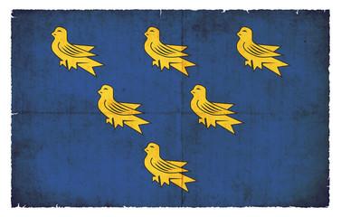 Grunge Flagge Sussex (Großbritannien)