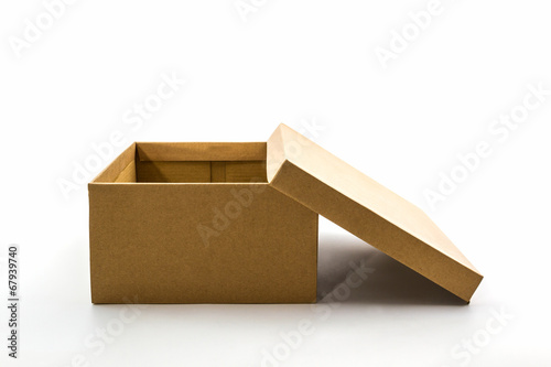 Brown shoe box on white background with clipping path.