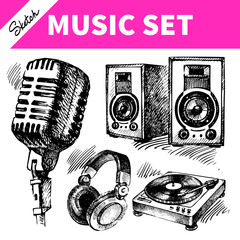 Sketch music set. Hand drawn illustrations of Dj icons