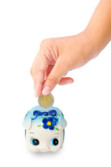 Money Saving with Piggy bank on white background