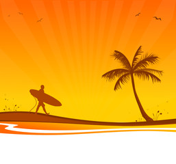 Strand Palme Surfer