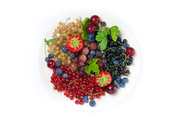 assorted garden berries on a plate, top view, isolated