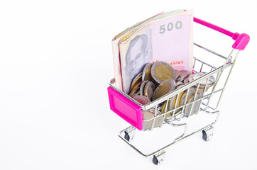 Shopping cart and money Thai bath