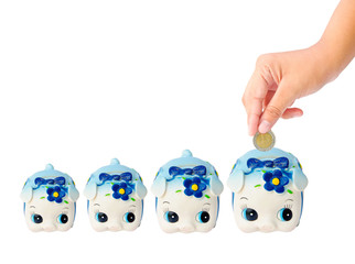 Many Money Saving with Piggy bank on white background