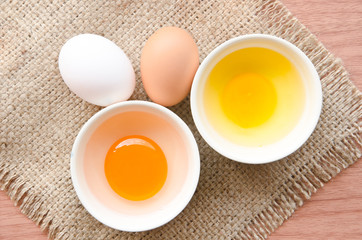 different fresh eggs and duck eggs.