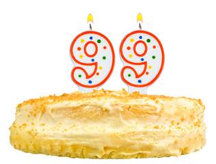 birthday cake with candles number ninety nine isolated on white