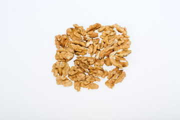 cracked walnut isolated on the white background
