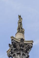 Admiral Nelson on top of Column, Trafalgar Square London England