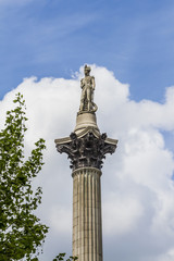 Admiral Nelson on top of Column, Trafalgar Square London England
