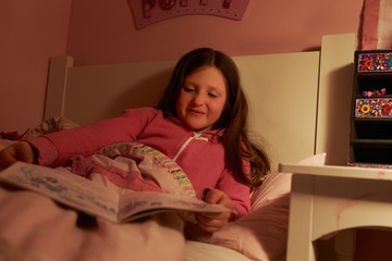 Young Girl Reading Book In Bed At Night