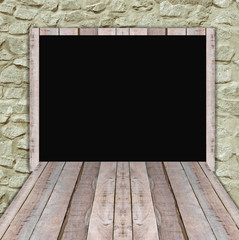 Blank wood billboard  for new advertisement