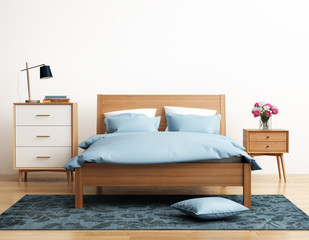 Contemporary elegant light blue bedroom with eug