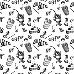 Sketch seamless pattern of coffee