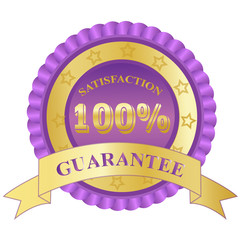 100%, Satisfaction, Guarantee, badge, purple