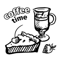 Vintage coffee and pie. Vector sketch
