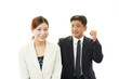 笑顔のビジネスマンとオフィスレディー