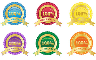 100%, Satisfaction, Guarantee, badge, set
