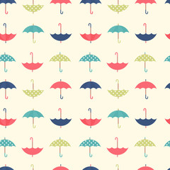 Autumn seamless pattern with a set flat umbrellas