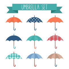 Set of cute flat style autumn umbrellas