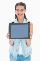 Pretty student showing her tablet pc