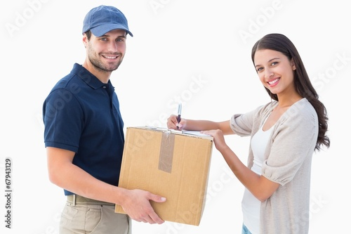 canvas print picture Happy delivery man with customer