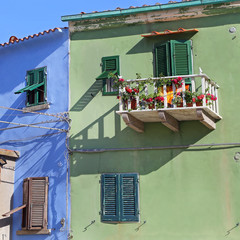 colorful houses in the Giglio Island,  Tuscany - Italy
