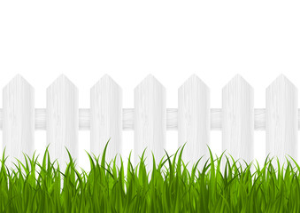 Green grass with wooden fence