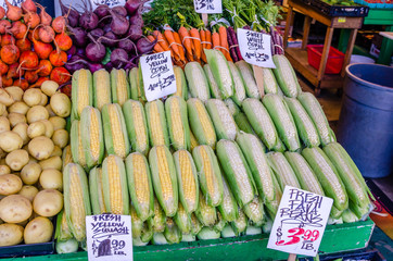 Fresh Organic Vegetables on Sale on a Market Stall