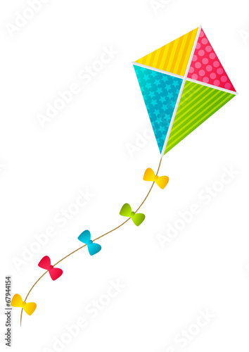Color paper kite on white background - 67944154