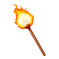 Flaming Match isolated illustration