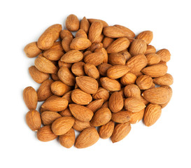 Heap of peeled almond nuts