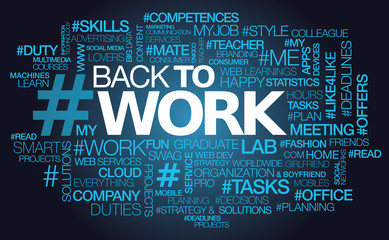Back to work office jobs words text tag cloud