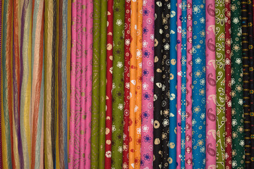 Cloth fabrics at a local market in India.