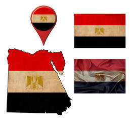 grunge Egypt flag, map and map pointers