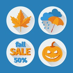 icons set autumn flat design. vector