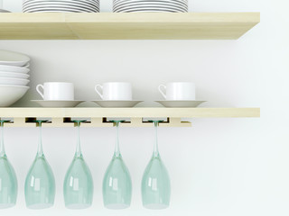 Kitchenware on the wooden shelf.