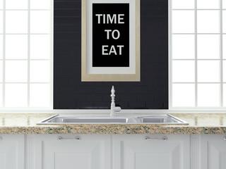 White and black kitchen design.