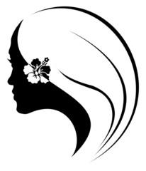 jeune fille noire à la fleur d'hibiscus