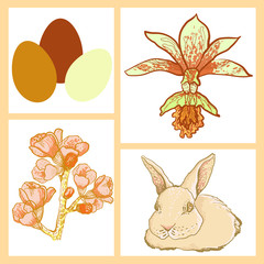 vector Easter rabbit with spring cherry branch
