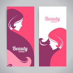 Banners with stylish beautiful woman silhouette