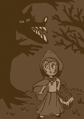 Vintage little red riding hood in the forest