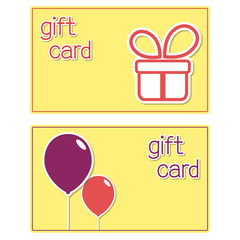 Gift cards templates with present box and balloons stickers