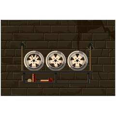shelf with car disks on the brick wall background