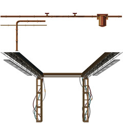 set of industrial pipes and metal constructions