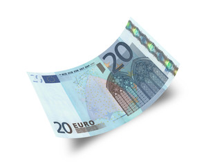 twenty euro banknote isolated on white background
