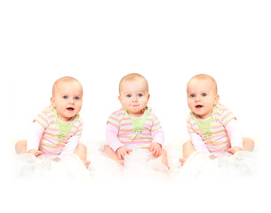 Three sisters have a fun. Picture with space for your text.