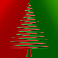 Vector christmas tree from pointy bended papers