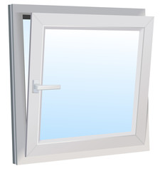 Vector format of opened slanted modern window