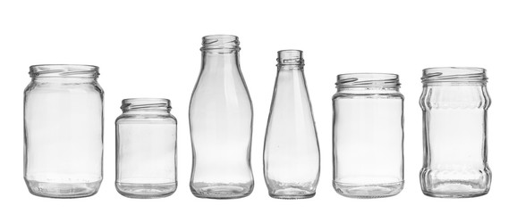 set of empty jar isolated on white background